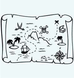 Island treasure map vector image vector image