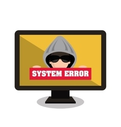 monitor system error alert isolated vector image