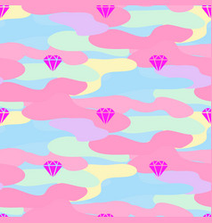 Neon pink girl camouflage seamless pattern vector