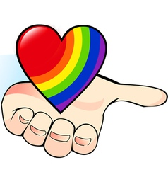 Rainbow heart in the palm vector