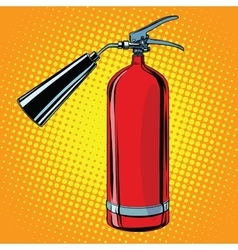 Realistic red fire extinguisher pop art vector