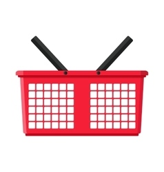 Red plastic shopping basket vector image