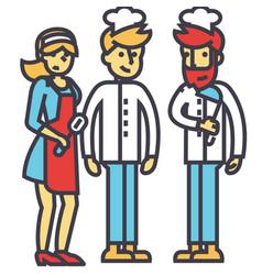Restaurant team kitchen workers waiter cooker vector