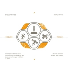 Science icons space technology vector image