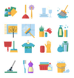 symbols of cleaning services in cartoon vector image