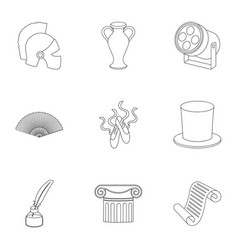 Theater set icons in outline style big collection vector