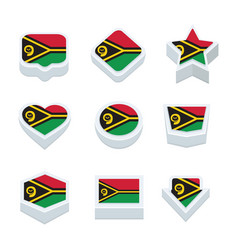 Vanuatu flags icons and button set nine styles vector