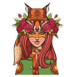 Woman with a mask of a fox beautiful girl in a vector