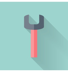 Wrench flat icon over mint vector image