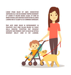 young mother with baby carriage kid and dog - vector image vector image