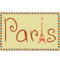 Tower eiffel with paris lettering vector