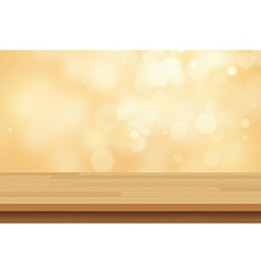 Wood table top on golden bokeh abstract background vector