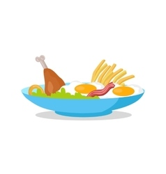 Chicken Fried Eggs with Bacon Fries and Salad vector image