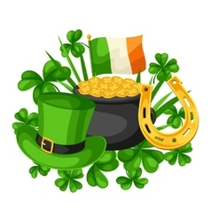 Saint Patricks Day card Flag Ireland pot of gold vector image