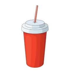 Paper cup with straw icon cartoon style vector