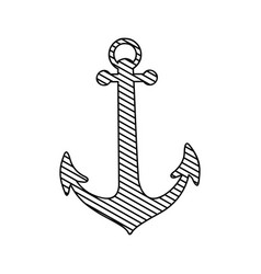 Monochrome silhouette of anchor to striped vector