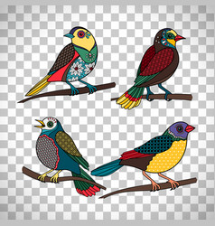 Colored birds with floral patterns vector