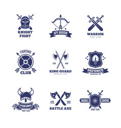 vintage warrior sword and shield labels knight vector image