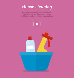 Basin with washing cleaners glass clean substance vector
