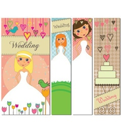 A set of four different wedding banners with vector