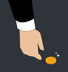 Business hand pick up a coin vector