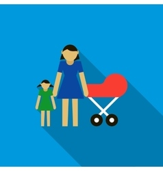 Mother with daughter and baby in red pram icon vector
