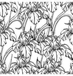 Seamless pattern decorative of iris flowers vector