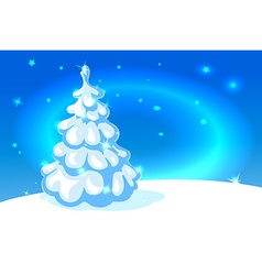 White christmas tree on blue shining background - vector