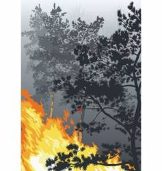 a fire in a wood vector image vector image