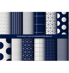 Abstract classy navy seamless pattern set vector