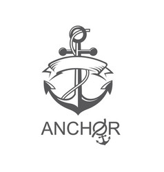 anchor symbol with ribbon vector image