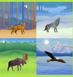 animals background set vector image vector image