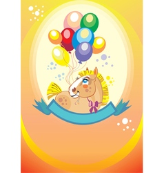 Background with balloons and pony vector