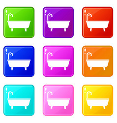 bathtub set 9 vector image