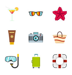 Beach holidays icons set flat style vector