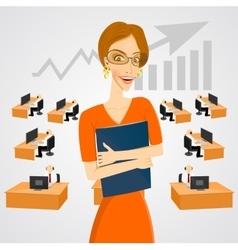 beautiful businesswoman in glasses vector image