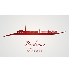 Bordeaux skyline in red vector