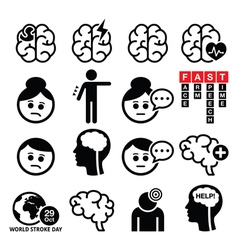 Brain stroke icons - brain injury brain damage co vector