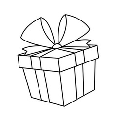 christmas gift box bow decoration icon vector image