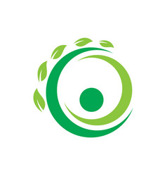 circle leaf ecology logo vector image vector image