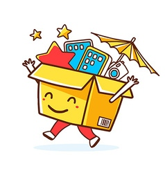 Colorful smile character shopping box wit vector