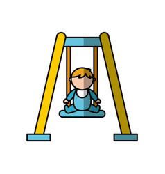 Cute boy baby on swing avatar character vector