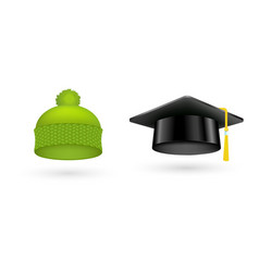 Different kind of fashion green hat modern vector
