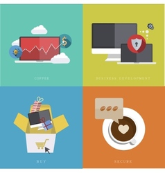 flat modern icons on sample background vector image
