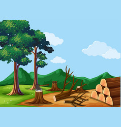Forest scene with chopped woods vector