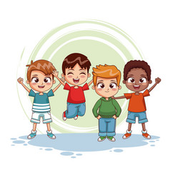 Happy kids jumpin cartoon vector