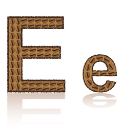 letter e is made grains of coffee isolated on whit vector image vector image