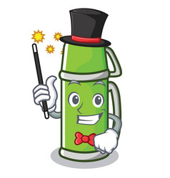 Magician thermos character cartoon style vector
