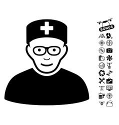 Medical specialist icon with air drone tools bonus vector