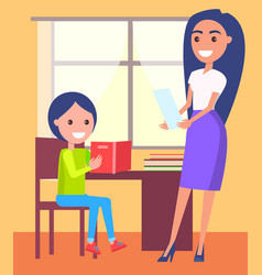Private lessons at home with schoolboy and teacher vector